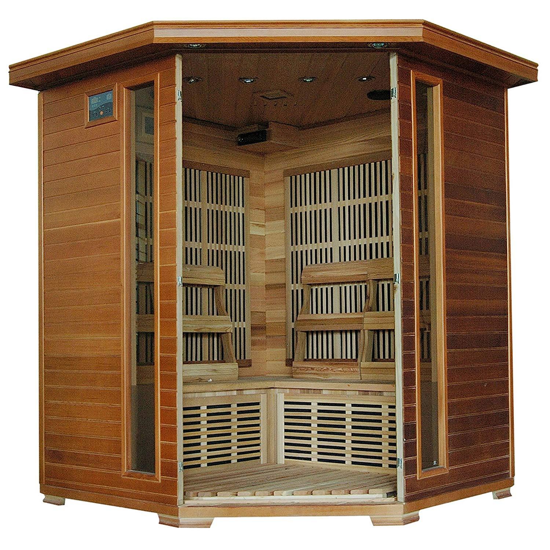 4-Person Cedar Corner Infrared Sauna 10 Carbon Heaters
