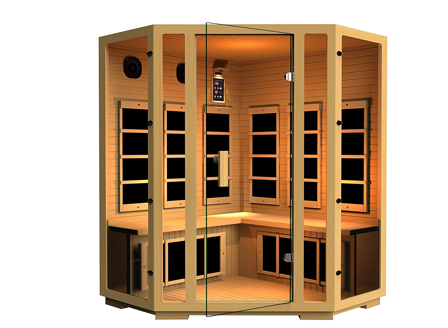 JNH Lifestyles Joyous Corner Canadian Hemlock Wood Far Infrared Sauna